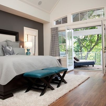Charcoal and teal master bedroom idea.