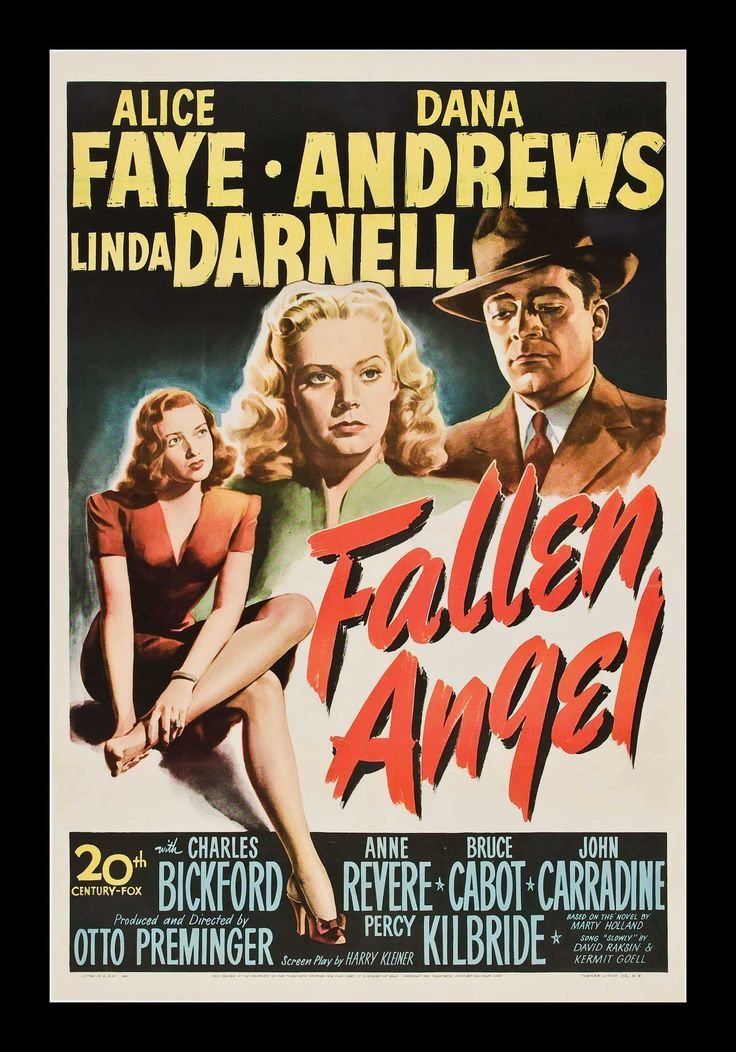 Fallen Angel Vintage Film Poster, 1945 classic, film, movie, old, retro, vintage #VintageMoviePosters