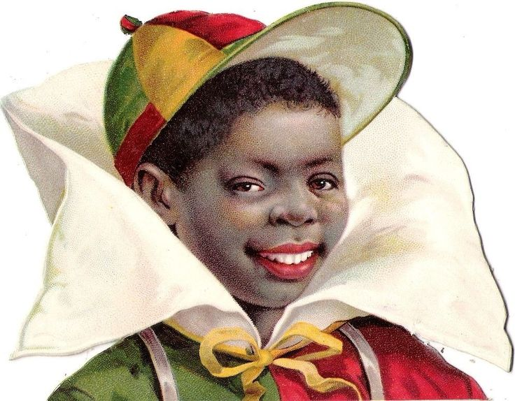 Oblaten Glanzbild scrap die cut chromo black boy 12,5cm head schwarzer Knabe