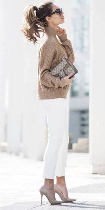 f9b742537ba Nadire Atas on How to Wear Winter White - Real Simple this is such a cute  date night outfit!