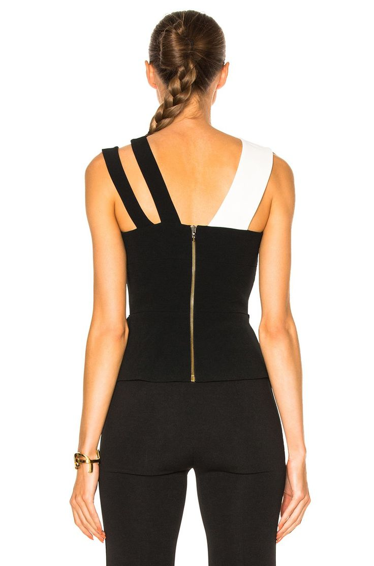 Roland Mouret Thornhill Stretch Viscose Top in Black & White | FWRD