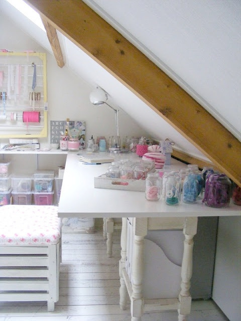 Attic craft room...good idea for people that don't have a lot of space