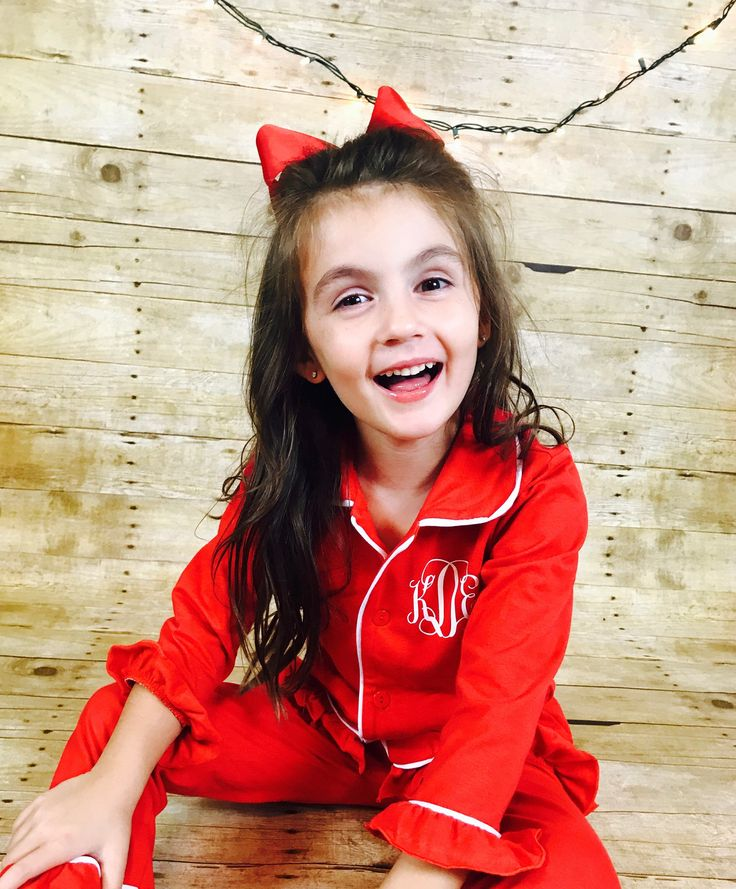 Christmas Pajamas for girls with Monogram - Red Button down Christmas PJ's ,Personalized pajamas by SouthernSugarStudio on Etsy https://www.etsy.com/listing/541611438/christmas-pajamas-for-girls-with