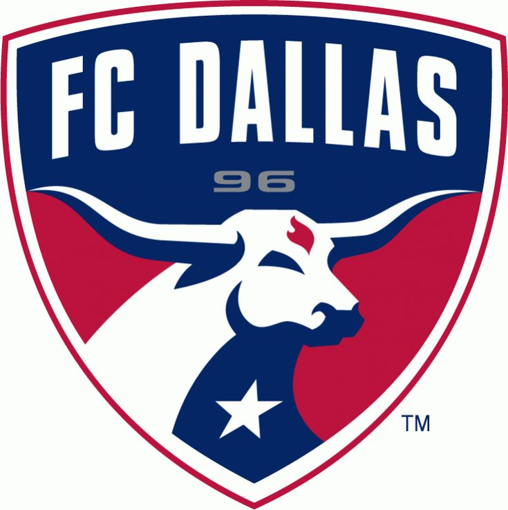 F.C. Dallas Primary Logo (2005) - A longhorn on a shield with Texas flag colors under FC Dallas script