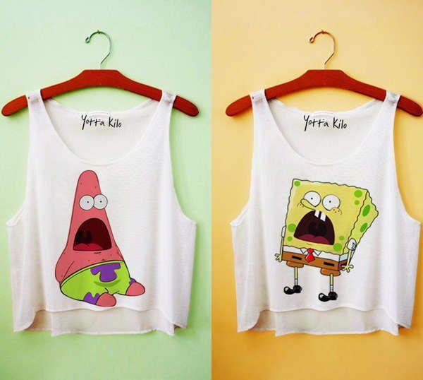 patrick + spongebob crop tops