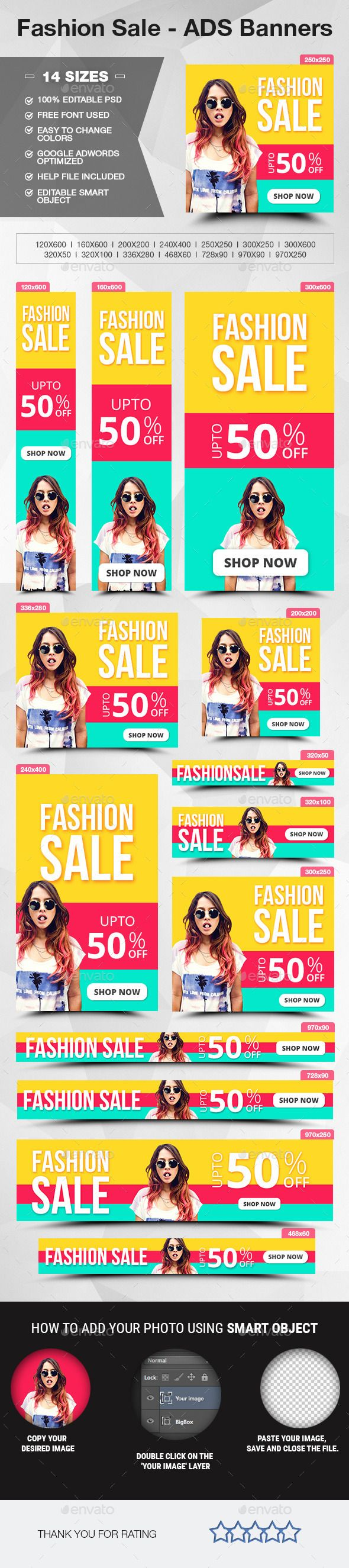 Fashion Sale - ADS Banners Template #design Download: http://graphicriver.net/item/fashion-sale-ads-banners/12217364?ref=ksioks