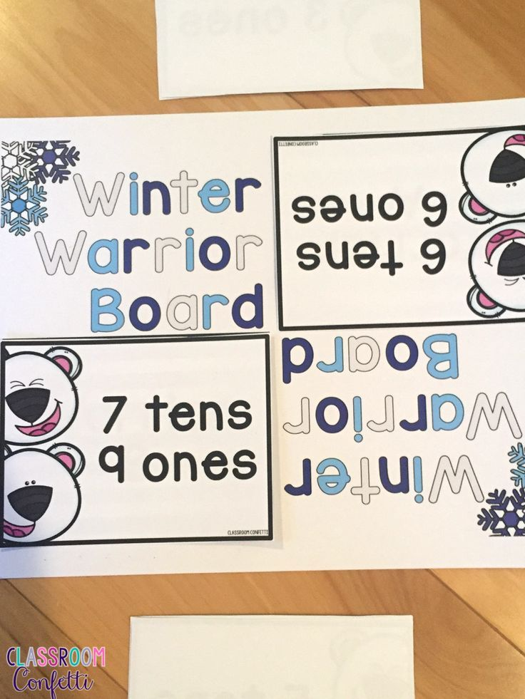 Winter Warriors -- A wintery math game based on the childhood game war. With three different card sets, this pack has 3 games in one including pace value and addition!!