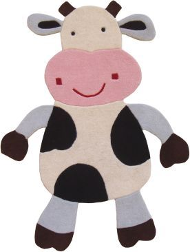 HIs favorite animal why not a cow rug for his playroom?!
