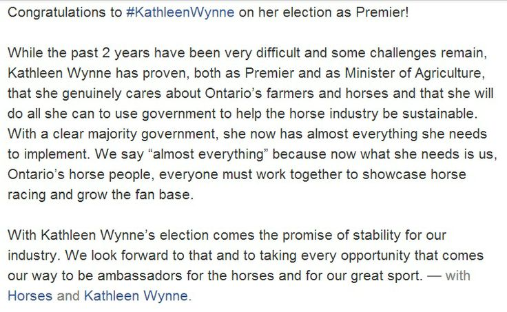 Congratulations to Kathleen Wynne on her election as the Premier of Ontario!