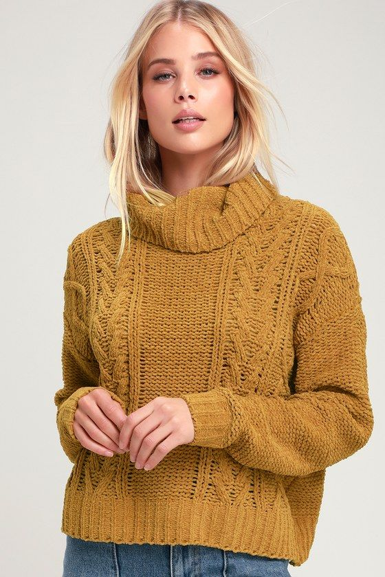 On A Roll Mustard Yellow Chenille Turtleneck Sweater Clothes