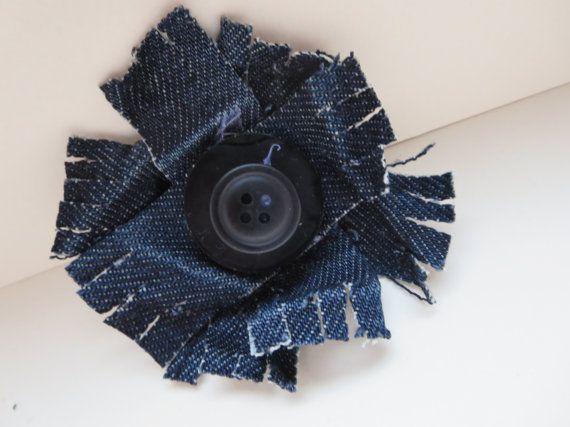 Hey, I found this really awesome Etsy listing at https://www.etsy.com/listing/178088977/shabby-chic-flower-brooch-blue-denim
