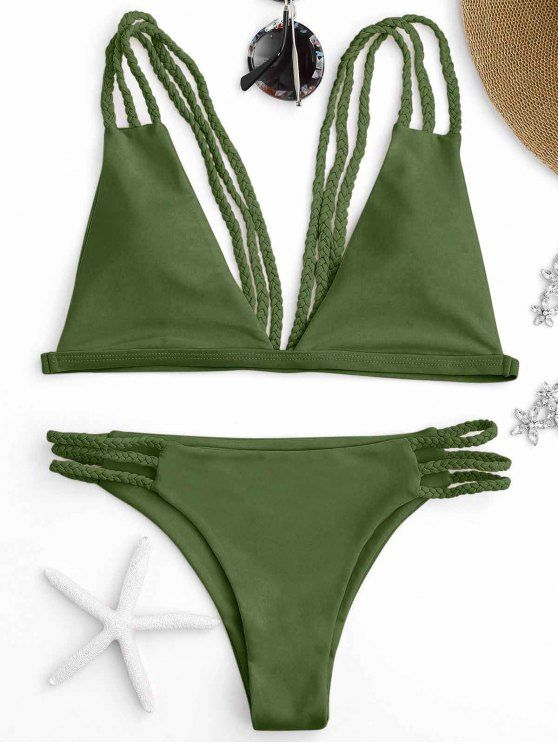 AD : Low Cut Strappy Bralette Bikini - GREEN   We love the exotic look bralette bathing suit featuring plunge bikini top with cute braided straps and high leg swim bottoms. A mix and match bikini set this season.  Swimwear Type: Bikini   Gender: For Women   Material: Nylon,Polyester,Spandex   Bra Style: Padded   Support Type: Wire Free   Collar-line: Spaghetti Straps   Waist: Low Waisted