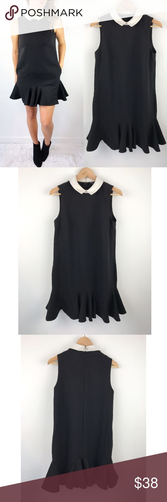 "Asos Black Dress with Contrast Collar Asos Black Dress with Contrast Collar. Excellent condition. Super comfortable. Relaxed fit to flare hem. Polyester, viscose, and elastane blend. Back zipper. size 6. Can fit 4-6. Chest-34"" waist-37"" hips-38"" length-34"" ASOS Dresses Mini"
