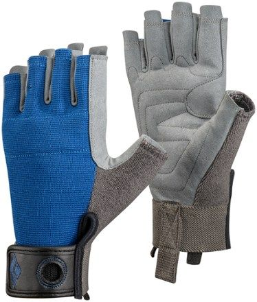 Lightweight, breathable and durable cragging gloves for belaying, aid climbing and via ferrata, Crag Half-Finger Gloves protect your hands without compromising dexterity. Available at REI, 100% Satisfaction Guaranteed.