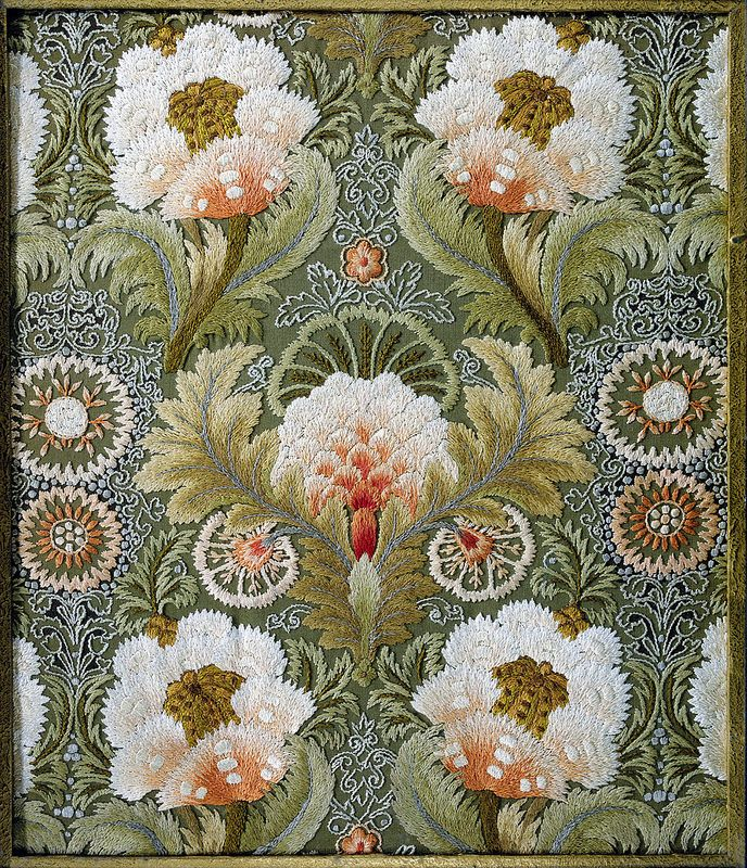 Silk Embroidery with Flowers and Leaves, attributed to the Leek Embroidery Society.
