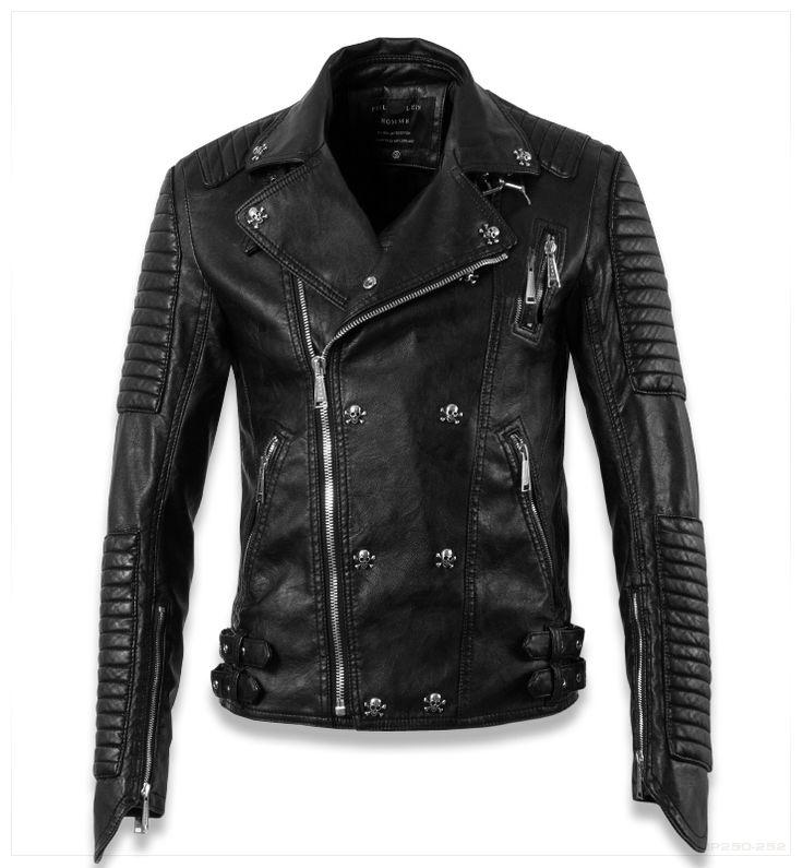 Cool Leather Jackets for Men | skull cool designer slim fit leather motorcycle biker jackets for men ...