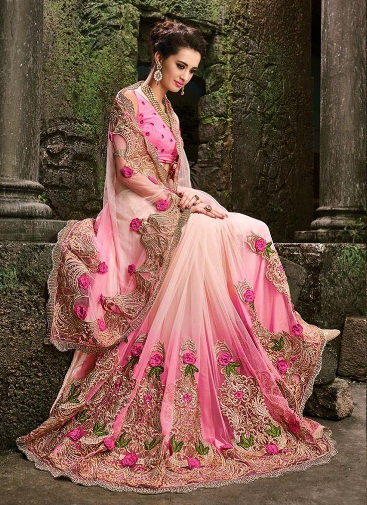 Catchy Pink Patch Border Work Net Designer Bridal Sarees