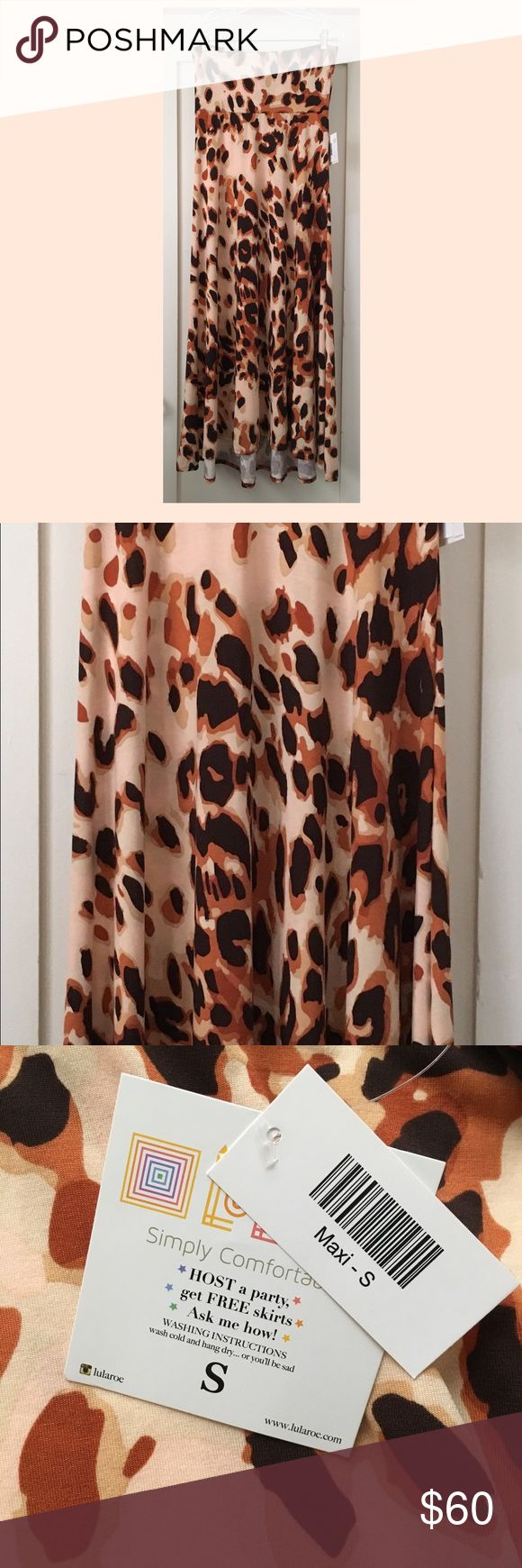 LuLaRoe Animal Print Maxi Skirt New with tags. Beautiful LuLaRoe animal print (cheetah / leopard) maxi skirt which can also be worn as a dress. Size Small (S) but this style runs large (see size chart.). Non slinky material. LuLaRoe Skirts Maxi