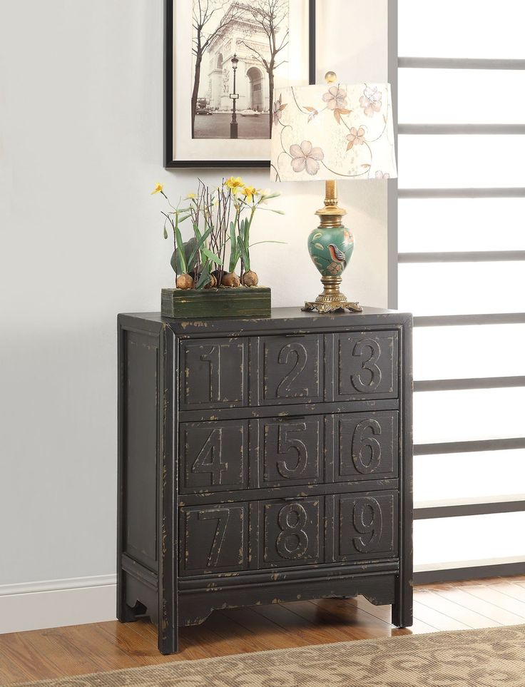 "Hazel Antique Black with Distressed Console Table 90119 $264   Features :  Hazel Collection  Black Finish Solid Wood Legs Dimensions :  Console Table :  32"" x 15"" x 32""H"