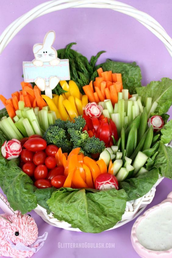 Looking for a fun and easy way to jazz up the same old relish tray for Easter? Well, here is a fun idea to transform those veggies into a work of art. Take those delicious and colorful veggies, get rid of the tray, and add a basket. Easy and beautiful! Whether you serve it on …: