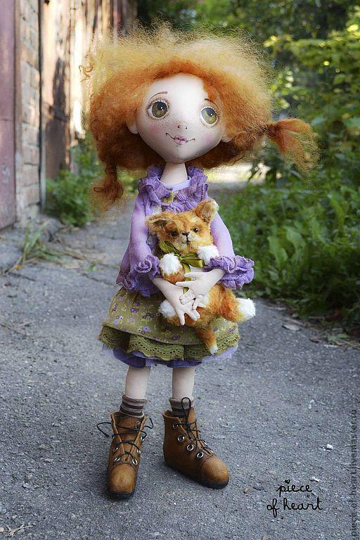 Купить Рыжее счастье - рыжий, девочка, кот, счастье, авторская кукла, светлана фадеева, сиреневый