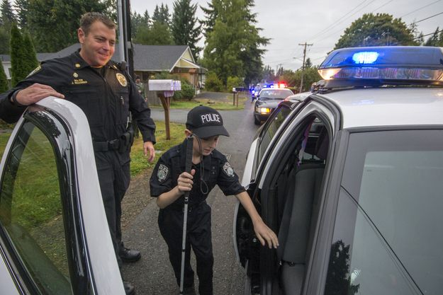 And the police officers who made blind 13-year-old Gage Hancock-Stevens' dream of being a cop come true