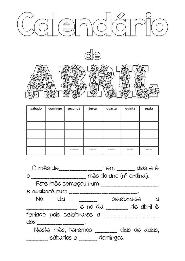 Calendários do mês de abril (2017)