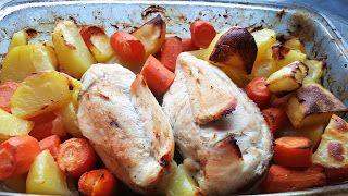 Vaříme bez tuku: Pečená kuřecí prsa s bramborem a mrkví z jednoho p...