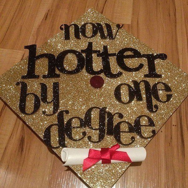 Glittering Graduation Cap. Create this stunning graduation cap with gold glittering cap board and black glittering letters. Decorate it with red satin bow tied diploma. http://hative.com/graduation-cap-ideas/