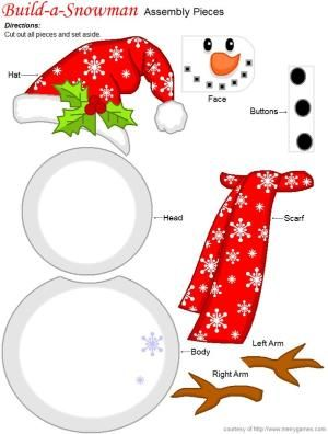 FREE Printable Christmas Build-a-Snowman Game - great holiday entertainment by marsha