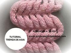 Clase gratis de tejido dos agujas como tejer el punto trenza de Asia paso a paso