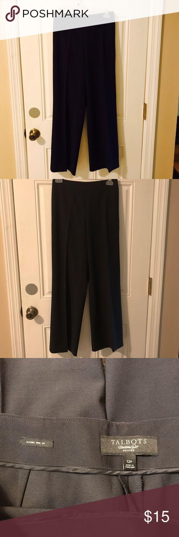 "Talbots navy blue dress pants Talbots navy blue dress pants.  Classic side zip. Inseam 28"", waist 17"".   Size 12P Talbots Pants Trousers"