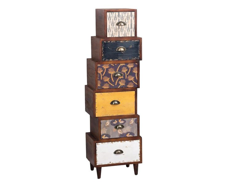 Cassettiera 6 cassetti in legno di abete Gaston marrone/bianco - 38x134x30 cm | Dalani Home & Living