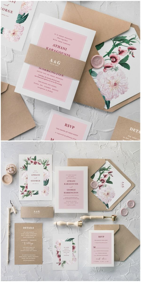 Geometric Pink Wedding Invitations Peony Sweet Pea Invites