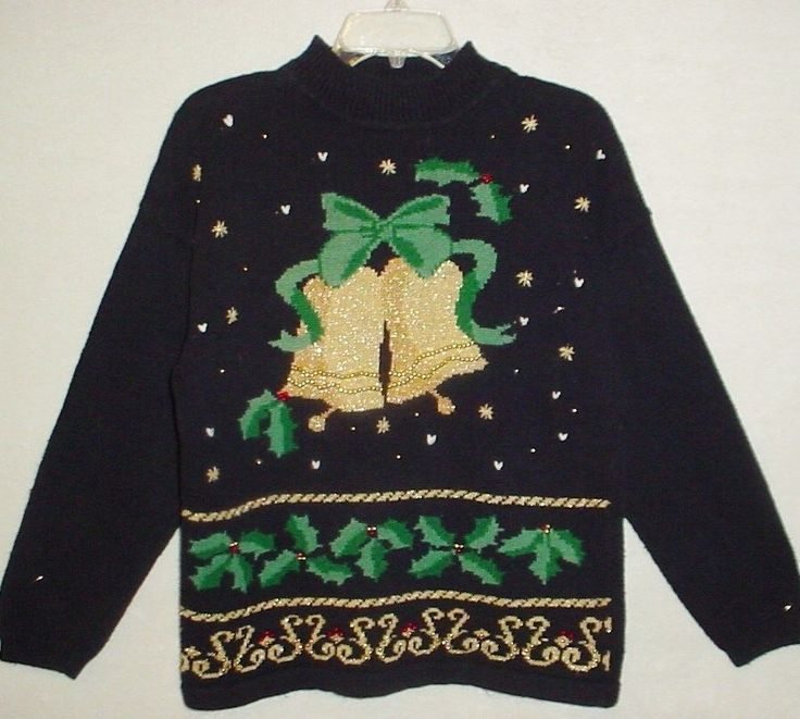 Vtg UGLY!! Mens Ladies L CHRISTMAS Tunic Sweater w/Gross Metallic Bells, Black #Panther #Tunic