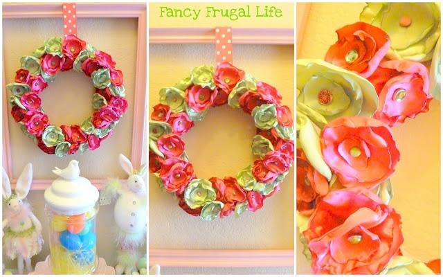 satin flower wreath