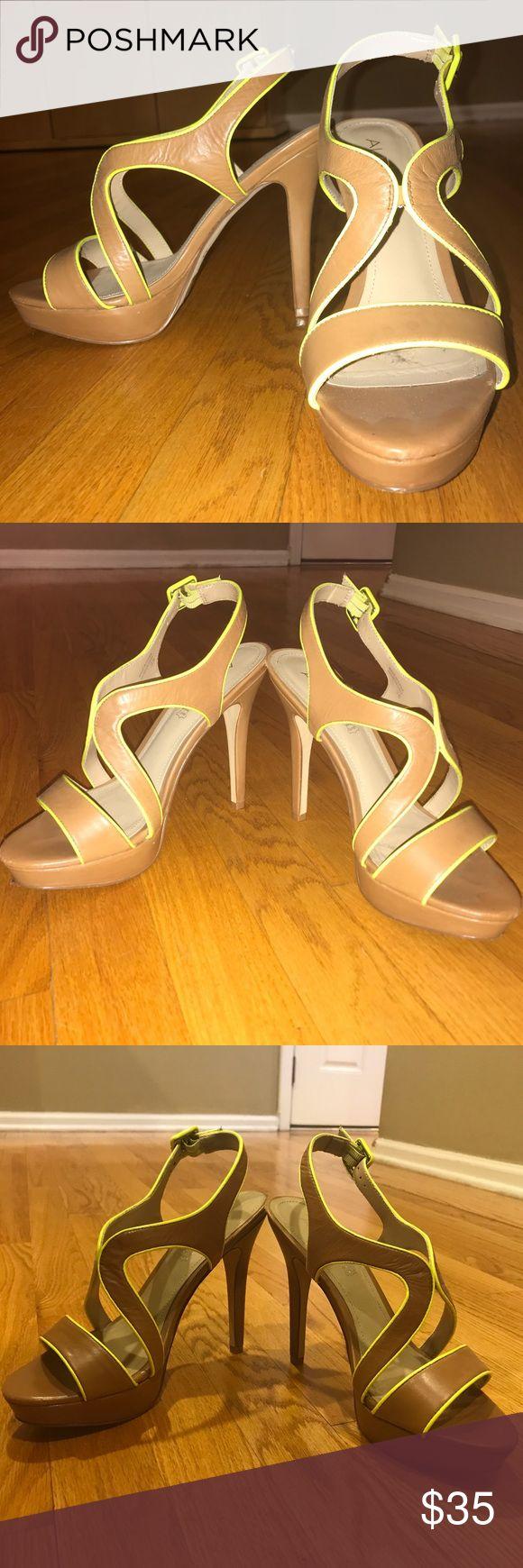 ALDO Bracker Heeled Sandal Size 38 ALDO Bracker Heels. Camel color with neon yellow trim. Size 38. Worn several times but still has tag under shoe. Aldo Shoes Sandals