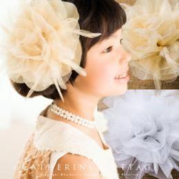 羽根とラメのゴージャスコサージュ 子ども レディース 親子兼用 卒業式 入学式 結婚式 発表会 パーティー 母娘兼用 AD019