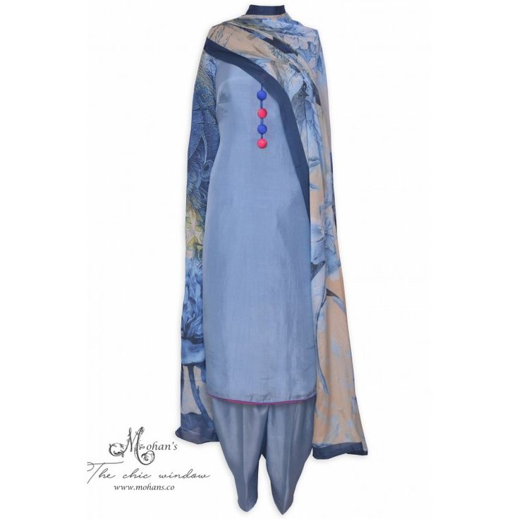 Trendy azure unstitched suit featuring in buttons and printed dupatta