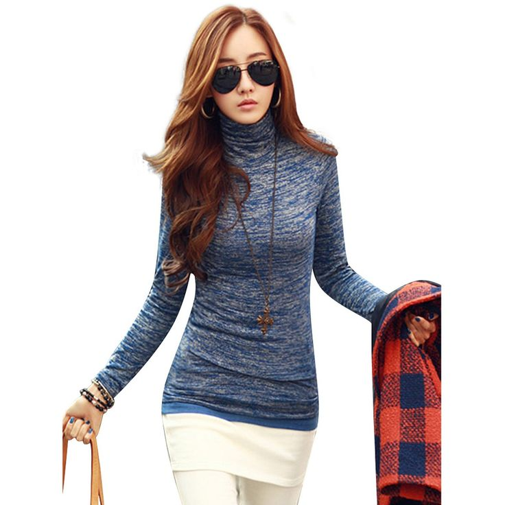 New Arrival Sweaters 2015 Slim Novelty Fashion High Neck Long Sleeve Pullovers Women Solid Black Blue Knitted Tops Plus Size