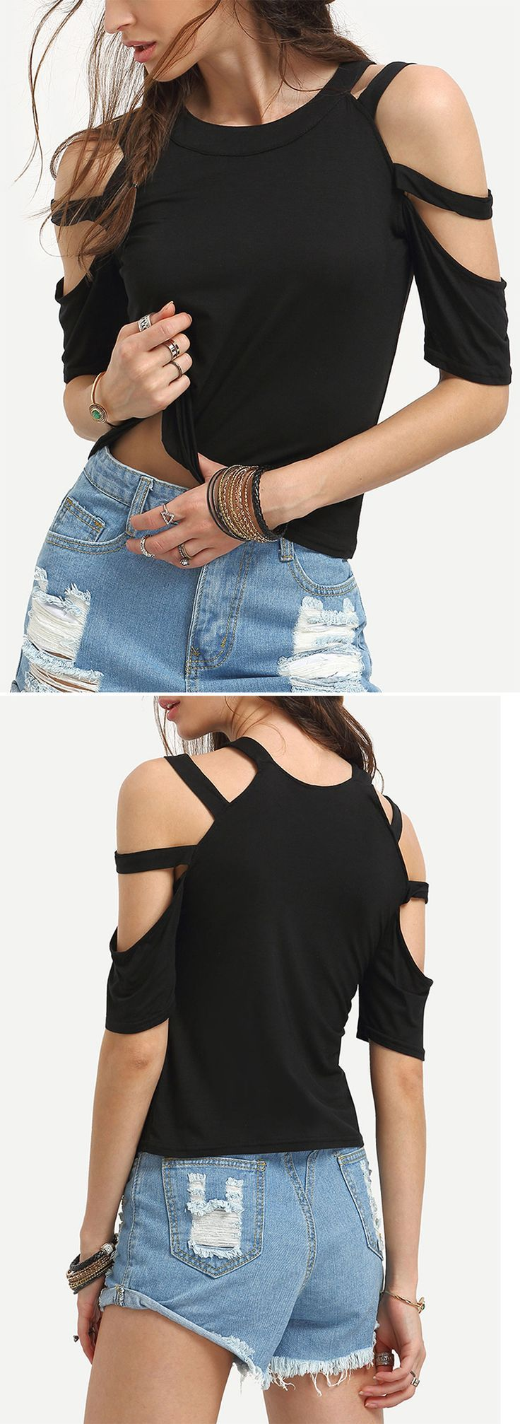Summer street style -Ladder-Cutout Shoulder T-shirt. Special shoulder design and hot sexy tops for party. US$6.99.