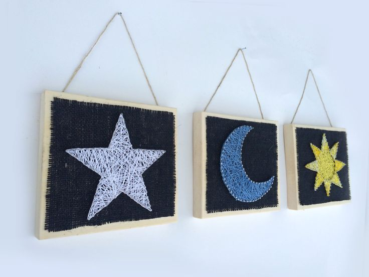 Sun Moon and Star String Art Home Decor! (25.00 CAD) by Edgeofthewoodsart