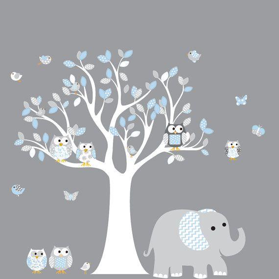 Nursery Wall Decal Vinyl Wall Decal blue chevron pattern Owl Tree Set Nursery Boy Baby on Etsy, $99.00