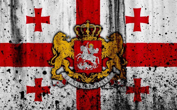 Download wallpapers Georgian flag, 4k, grunge, Asia, flag of Georgia, national symbols, Georgia, coat of arms of Georgia, national flag, Georgian national emblem