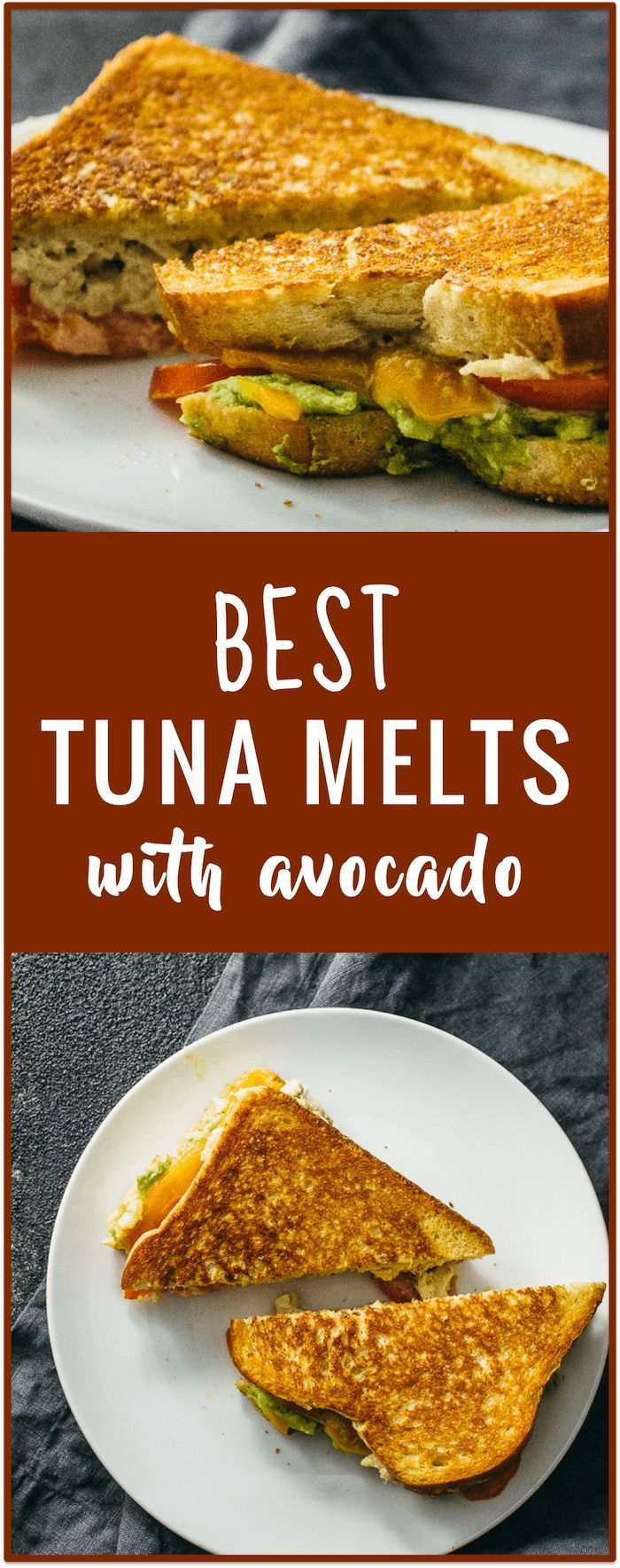 Try this tuna melt sandwich recipe with cheddar cheese, tuna, tomato, and mashed avocados. The bread is buttered and toasted on a skillet to achieve a very crispy and golden-brown exterior.