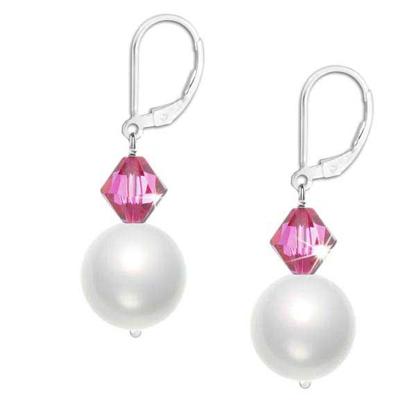 Lustrous 6mm crystal white Swarovski pearls and sparkling 4mm rose pink crystals hang delicately from a sterling silver leverback earring.