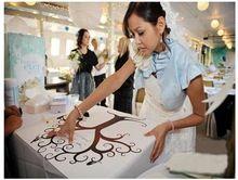 30*40 cm albero matrimonio guest book impronte digitali della tela di canapa pittura decorazione di cerimonia nuziale del partito e19(China (Mainland))