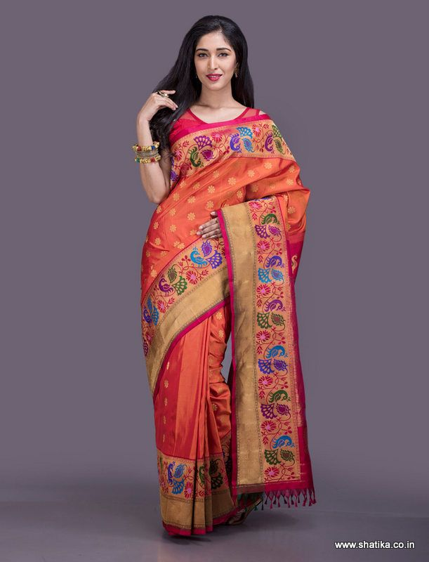 Standing out with a broad border on both sides, the beauty of this Paithani saree lies in its intricate work on the border. Paithani silk uses the ancient technique of tapestry where multiple threads of different colours along with gold and silver threads are weaved together to form a fascinating piece of silk.