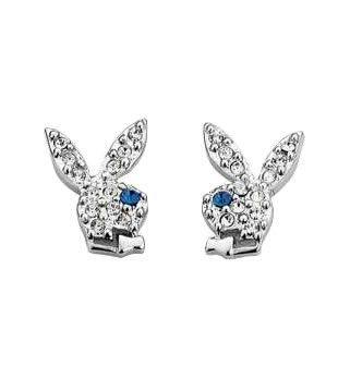 Playboy Bunny Stud Earrings: Earrings Piercings, Bunnies Studs, Earrings Measuring, Crystals Bunnies, Studs Earrings, Playboy Bunnies, Earrings Silver, Bunnies Logos, Accessories