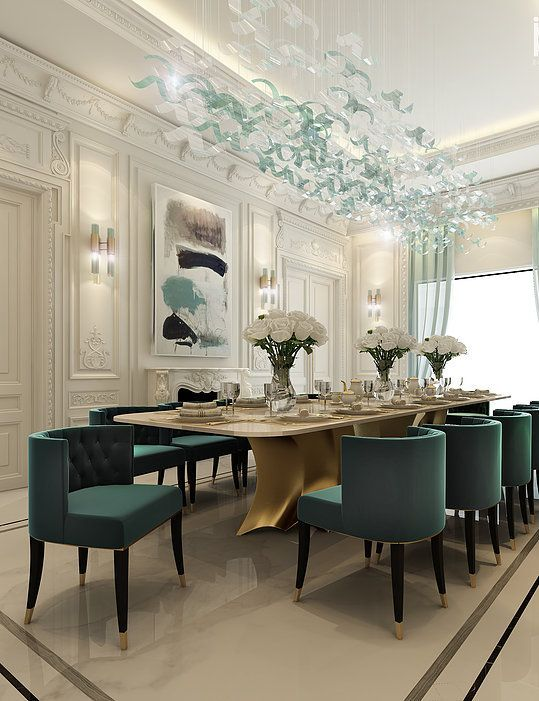 Dining room decor always need a luxurious suspension lamp. Discover more luxurious interior design details at luxxu.net